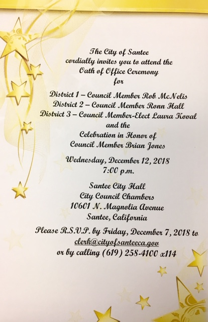 Oath of Office Invite for Ronn Hall December 12 2018
